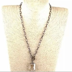 Jewelry - Toggle clasp chain glass pendant necklace